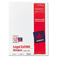 Avery Avery-Style Bottom Tab Dividers, 26-Tab, Legal Exhibit 1-25, 8.5 x11 Inches, White, 26 per Set (11378)