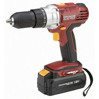 "Chicago Electric 18 Volt Cordless 1/2"" Drill/Driver With Keyless Chuck"