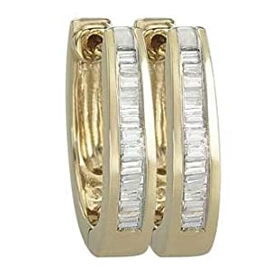 14K Yellow Gold 0.24cttw Simply Single Row Channel Set Baguette Shaped White Brilliant Diamond Hinged Huggie Earrings