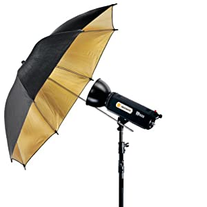 Neewer 33inch/84cm Black and Gold Reflective Lighting Umbrella - Great for Portrait Photography Studio