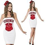 Ladies White/Red Smirnoff Vodka Alcohol Short Bodycon Mini Dress Fun Hen Do Party Fancy Dress Costume Outfit