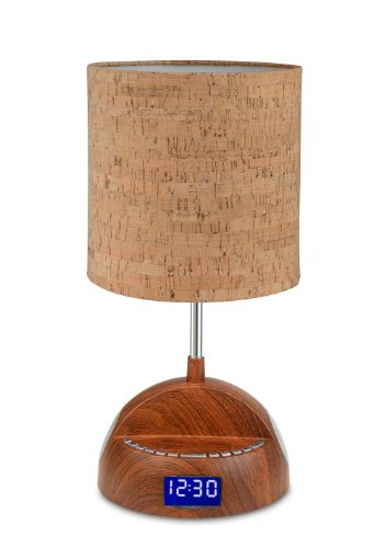 Bluetooth Wood Grain Speaker Lamp With Alarm Clock, Fm Radio, And Usb Charging Port