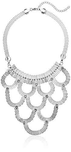 """Silver Tone Mesh Statement Bib With Crystal Accents Necklace, 16""""+3"""" Extender"""