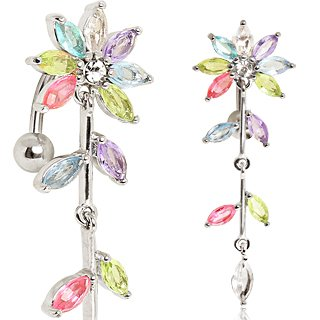 Absolutely Stunning Multi Coloured Multi Jointed Flower & Leaves Reverse ( Top Down ) Belly Bar Navel Ring.