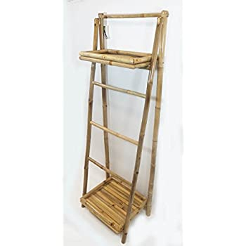 "5 Bamboo Ladder Rack with two shelves, 19""W x 60"" H"