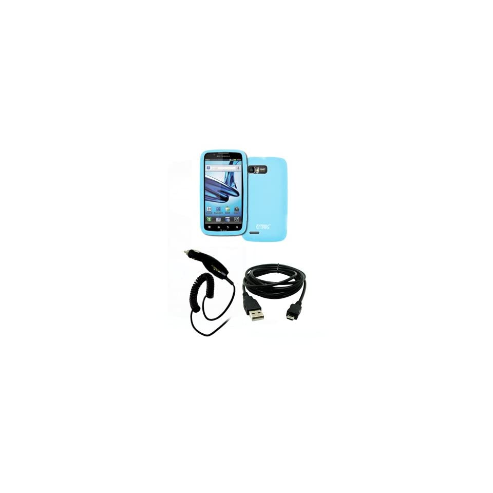 EMPIRE Motorola Atrix 2 Light Blue Silicone Skin Case Cover + Car Charger (CLA) + USB Data Cable [EMPIRE Packaging]