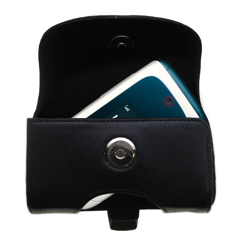 Belt Mounted Leather Case Custom Designed For The Motorola Ishia - Black Color With Removable Clip By Gomadic