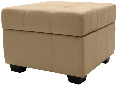 Epic Furnishings Microfiber Upholstered Tufted Padded Hinged Square Storage Ottoman Bench, 24-Inch, Suede Khaki