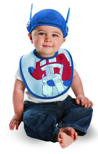Disguise Costumes Drool Over Me Transformers Optimus Prime Infant Bib and Hat  Accessory, Blue/Red, 0-6 Months - 1