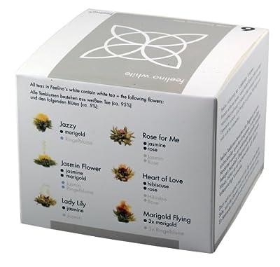 """Feelino Edle 6er-Mischbox -Teeblumen """"white"""" in toller Probier- und Geschenkbox mit 6 verschiedenen Weißtee-Teerosen, einzeln vakuumverpackt, 1er Pack von Feelino auf Gewürze Shop"""