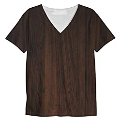 Snoogg Dark Wood Textures Mens Casual V Neck All Over Printed T Shirts Tees
