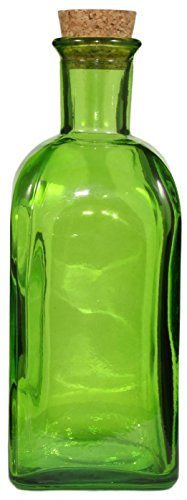 17 Ounce Square Green Olive Oil Bottle with Cork, Recycled Glass (Recycled Glass Jars compare prices)