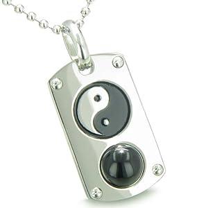 "Yin Yang Amulet Crystal Dog Tag Lucky Charm Simulated Black Onyx 22"" Necklace"