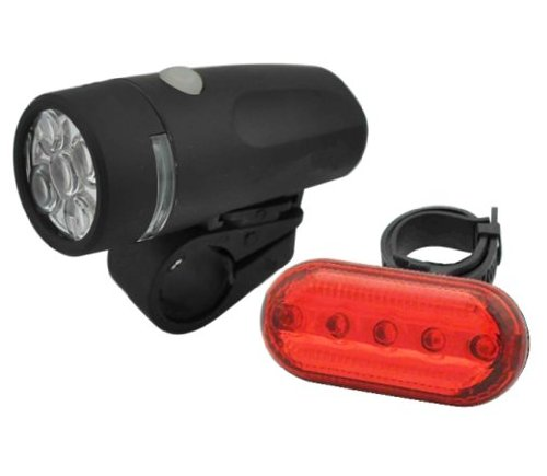 5 LED Waterproof Bicycle Headlight Safety and Tail Light Set by