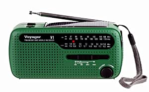 Kaito V1G Voyager Solar/Dynamo AM/FM/SW Emergency Radio with Cell Phone Charger and 3-LED Flashlight, Green