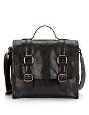 M&S Collection Leather Boxy Satchel Bag