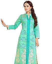 Urfashionguru Women's Chanderi Unstitched Dress Material (UFGDRMSH0594007_Turquoise_Free Size)