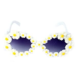 Etosell Full Frame Daisy Adorned Plastic Round Sunglasses Oversized Eyewear Glasses