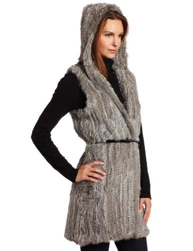 525 America Women''''s Knitted Rabbit Fur Long Hoodie Vest, Grey, Small