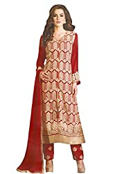 Namrah Collection Women's Georgette Embroidered (402, Red)