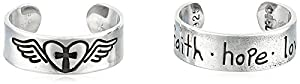 Bob Siemon Sterling Silver Faith, Hope, Love and Heart Toe Ring, Set of 2