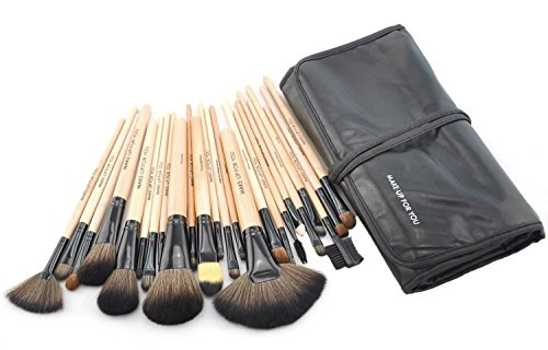 Makeup Brushes, Makeup Brush Set, Afunti 24 PCS Natural Synthetic Bristle Wooden Handle Cosmetics Foundation Eyeliner Mascara Eyeshadow Face Powder Blush Lipstick Makeup Brush