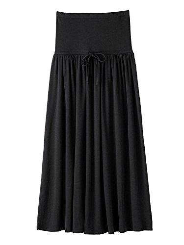 Angeliebe エンジェリーベ 産前 産後 対応 やわらか フライス マキシ スカート M ~ L R : レギュラー 丈 ブラック