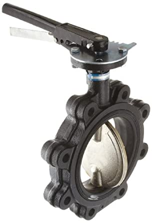 Milwaukee Valve ML222B Series Cast Iron Butterfly Valve, Lug Style, Nickel Plated Ductile Iron Disc, Buna-N Seat, Lever Handle, Flanged
