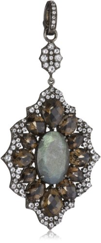Sutra Smoky and Labradorite Long Pendant Necklace Enhancers