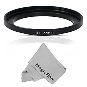 Goja 55-77MM Step-Up Adapter Ring (55MM Lens to 77MM Accessory) + Premium MagicFiber Microfiber Cleaning Cloth