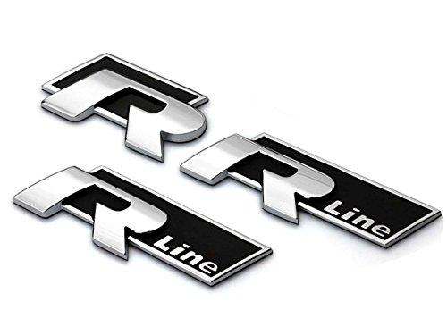 Deselen - LP-BS03 - VW Emblem Chrome Stickers Decals Badge Labeling for Golf R Line MK6 MK7, Jetta, Tiguan, Passat, CC, Scirocco, Polo, Beetle, Pack of 3 (Black) (Vw Emblem Jetta Mk6 compare prices)