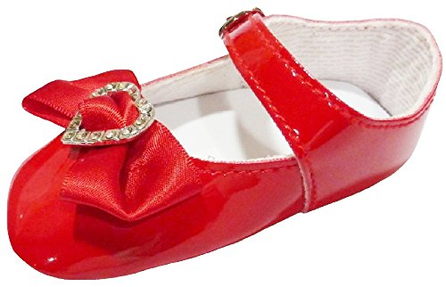 "Occasion Dress Shoes with Bow & Rhinestone Heart Red 3.5 M Infant 4.25"" 6-9 M"