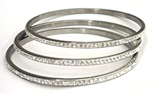 SET OF 3 FOR THE PRICE OF 2 Stainless Steel Slip-on Thin Bangle with One Row White Crystals