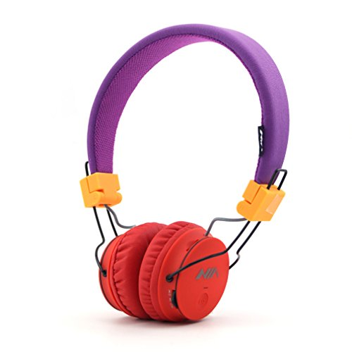 GranVela® Foldable Stereo Cordless Headphones, Micro SD/TF Card Player Headsets With FM Radio, High Performance, for iPhones, iPads, Samsung Galaxy, Nexus, Motorola, Smartphones & Tablets, A816 Red Purple