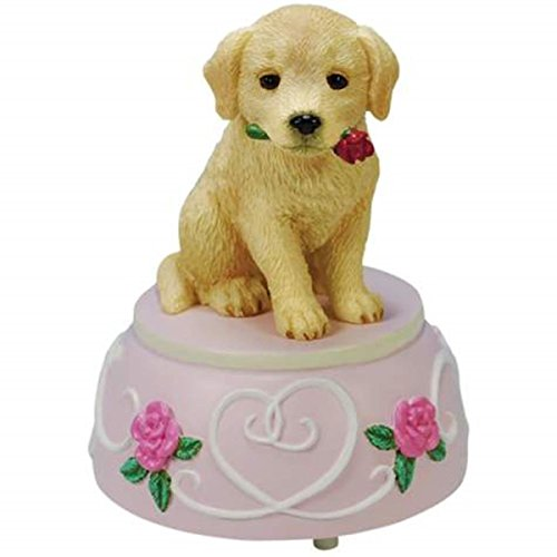 WL SS-WL-20802 Golden Retriever Puppy Dog Musical Figurine with Red Roses, 4