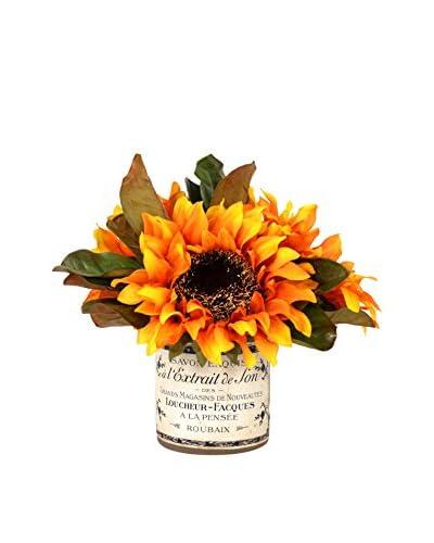 Creative Displays Orange Sunflower Bouquet in French Glass, Orange/Green/Brown