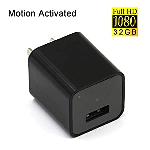 UYIKOO Hidden Spy Camera Motion Activated USB Wall Charger Camera Adapter Nanny Cam Home Security Cam Camcorder HD1080P With 32GB Internal Memory