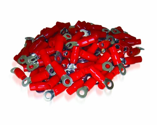 XS Power RT4S-RD-100PK 8.5mm Screw Hole Nickel Finish 4 AWG Crimp Terminal with Red Boot, (Pack of 100)