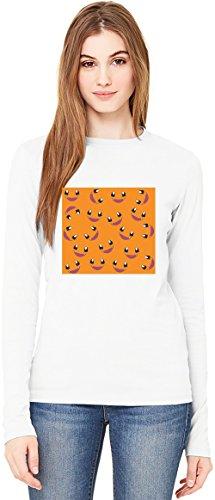 Cartoon Turtle Faces T-Shirt da Donna a Maniche Lunghe Long-Sleeve T-shirt For Women| 100% Premium Cotton| DTG Printing| Small