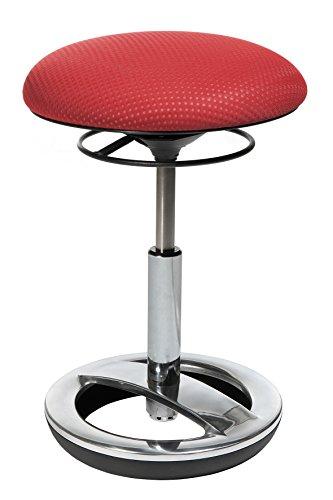 Topstar-SU49BR1-Sitzhocker-Sitness-Bob-Standfuring-Alu-poliert-Stoffbezug-rot