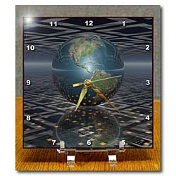 Buy Low Price Comfortable Perkins Designs Space – Earth Horizons surreal scene of reflecting Earth globe resting on computer board – Desk Clocks (B00541GK1S)