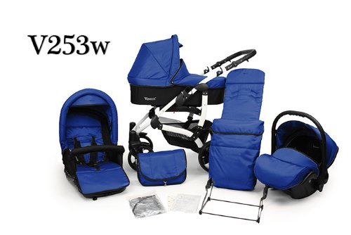 V253w WHITE FRAME!!! NEW PRAM + Pushchair & FREE Car Seat 3in1 Baby Stroller Travel system