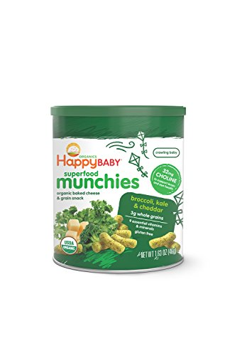 Happy Baby Organic Superfood Munchies Baked Cheese & Grain Snacks, Broccoli Kale & Cheddar Cheese, 1.63 oz (Pack of 6) - 1