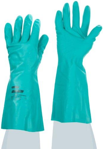 Gant resistente ai prodotti chimici JACKSON SAFETY *g 80-33 cm, anatomici/Verde/11, confezione da 24-Guanti
