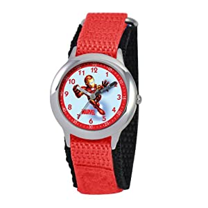 Marvel Comics Kids' W000124 Iron Man Stainless Steel Time Teacher Watch