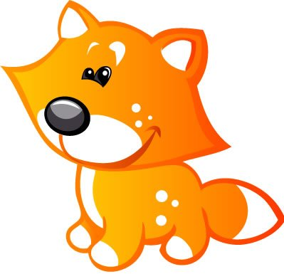 Children'S Wall Decals - Orange Fox With White Spots, White Tip On Tail, Black Nose - 48 Inch Removable Graphic front-975141