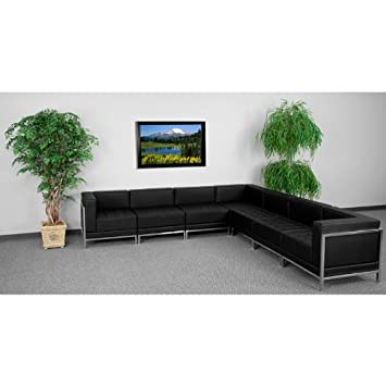 7pc Modern Leather Office Reception Sectional Sofa Set - FF-0433-12-S11