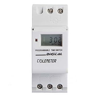 COLEMETER® LCD Minuterie Numérique Programmable Timer Relais Interrupteur AC180-264V 16A
