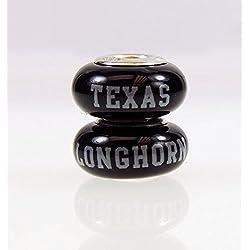 Texas Longhorns Fenton Glass Bead Fits Most Pandora Style Charm Bracelets
