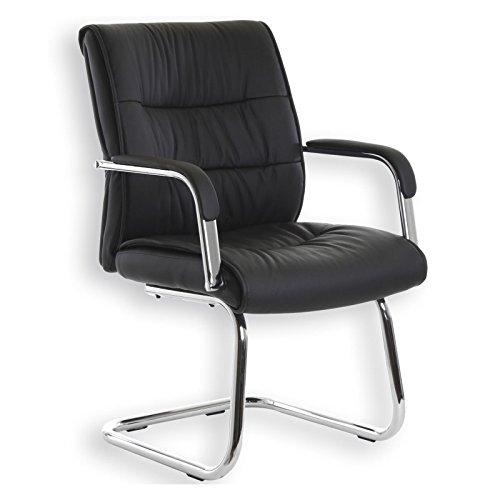 Besucherstuhl-Konferenzstuhl-CEDRIC-schwarzes-Napalonleder-hochwertig-verchromt-bequem-gepolstert